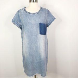 H&M Dividend Chambray Raw Hem Short Sleeve Dress